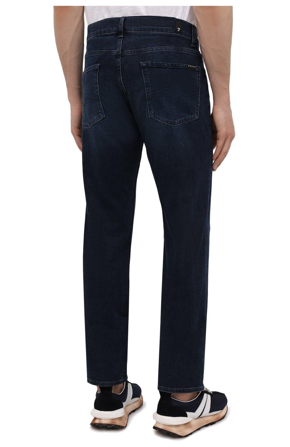 Мужские джинсы 7 FOR ALL MANKIND темно-синего цвета, арт. JSMNR460LL   Фото 4 (Силуэт М (брюки): Прямые; Длина (брюки, джинсы): Стандартные; Материал внешний: Хлопок; Стили: Кэжуэл)