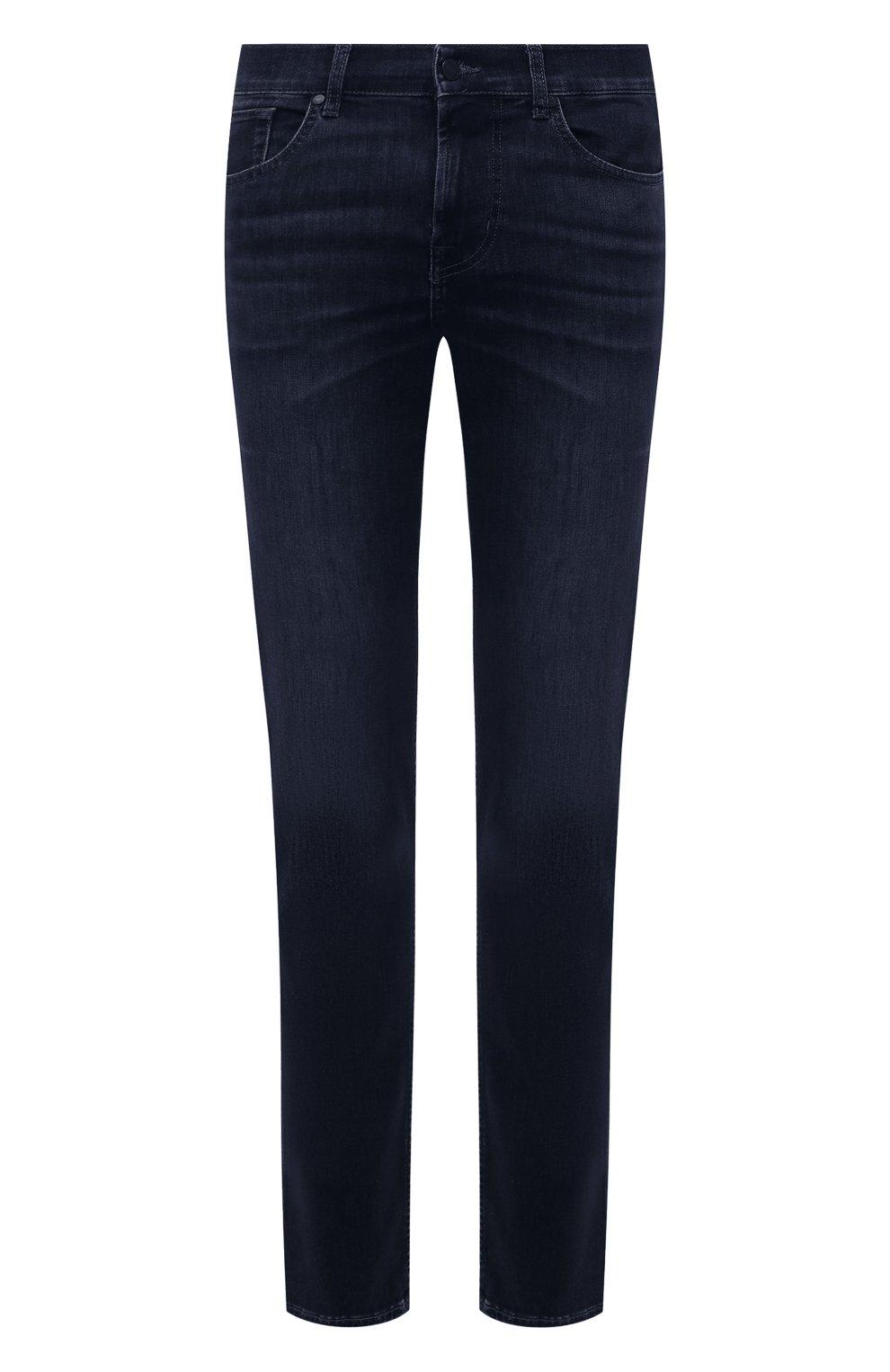 Мужские джинсы 7 FOR ALL MANKIND темно-синего цвета, арт. JSMXR460LL | Фото 1 (Силуэт М (брюки): Прямые; Длина (брюки, джинсы): Стандартные; Материал внешний: Хлопок; Стили: Кэжуэл)
