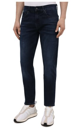 Мужские джинсы 7 FOR ALL MANKIND темно-синего цвета, арт. JSMXR460LL | Фото 3 (Силуэт М (брюки): Прямые; Длина (брюки, джинсы): Стандартные; Материал внешний: Хлопок; Стили: Кэжуэл)
