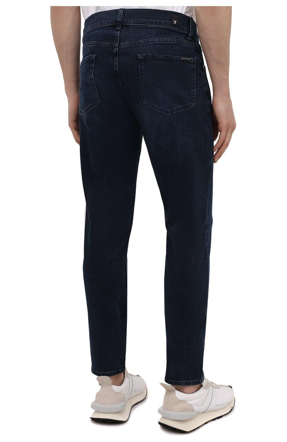Мужские джинсы 7 FOR ALL MANKIND темно-синего цвета, арт. JSMXR460LL | Фото 4 (Силуэт М (брюки): Прямые; Длина (брюки, джинсы): Стандартные; Материал внешний: Хлопок; Стили: Кэжуэл)