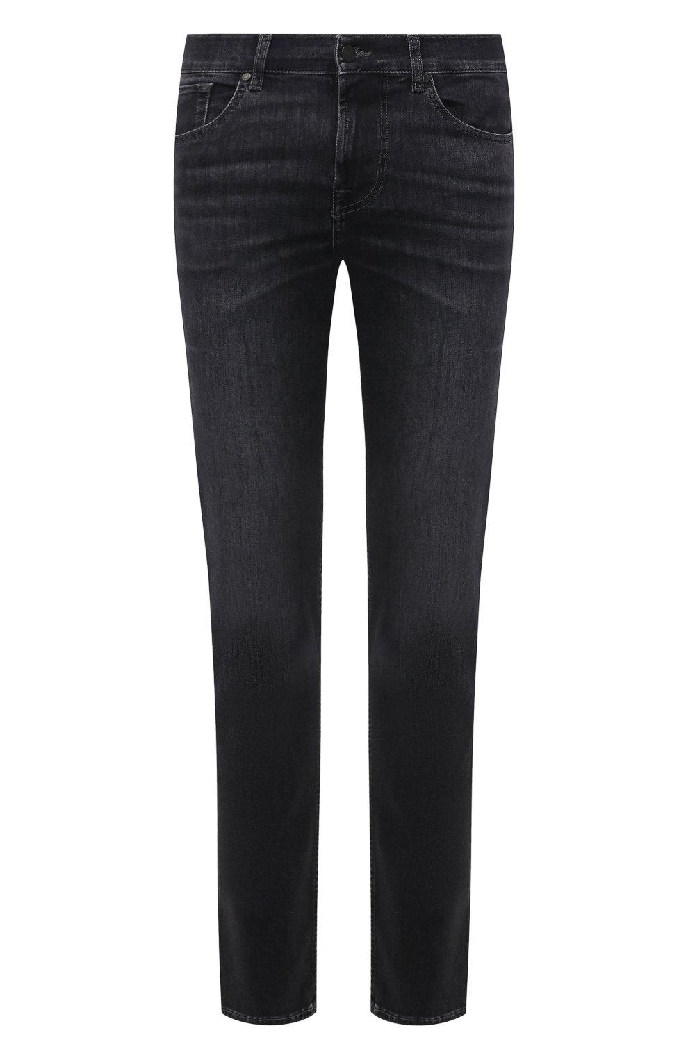 Мужские джинсы 7 FOR ALL MANKIND темно-серого цвета, арт. JSMSB820LG | Фото 1 (Силуэт М (брюки): Прямые; Длина (брюки, джинсы): Стандартные; Материал внешний: Хлопок; Стили: Кэжуэл)