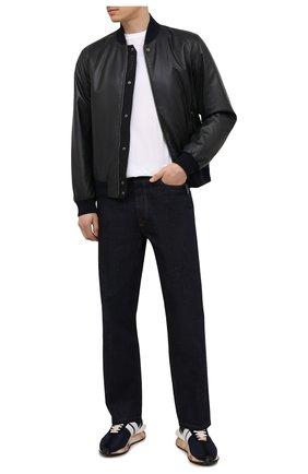 Мужской кожаный бомбер Z ZEGNA темно-синего цвета, арт. VY077/ZZ928 | Фото 2 (Рукава: Длинные; Материал подклада: Синтетический материал; Длина (верхняя одежда): Короткие; Кросс-КТ: Куртка; Мужское Кросс-КТ: Кожа и замша; Стили: Кэжуэл; Принт: Без принта)