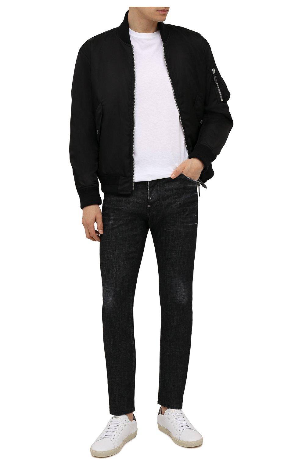 Мужские джинсы DSQUARED2 черного цвета, арт. S74LB0986/S30357 | Фото 2 (Силуэт М (брюки): Прямые; Кросс-КТ: Деним; Длина (брюки, джинсы): Стандартные; Стили: Гранж; Материал внешний: Хлопок)