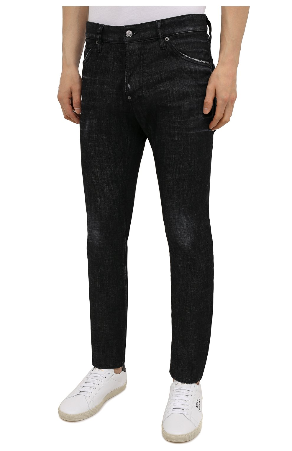 Мужские джинсы DSQUARED2 черного цвета, арт. S74LB0986/S30357 | Фото 3 (Силуэт М (брюки): Прямые; Кросс-КТ: Деним; Длина (брюки, джинсы): Стандартные; Стили: Гранж; Материал внешний: Хлопок)