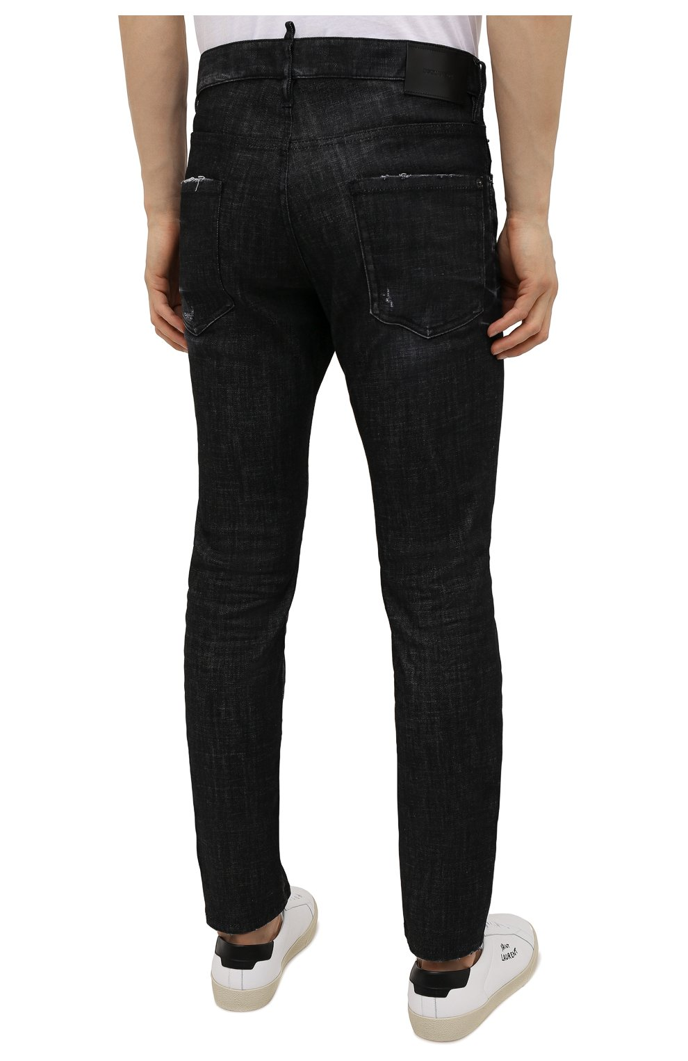 Мужские джинсы DSQUARED2 черного цвета, арт. S74LB0986/S30357 | Фото 4 (Силуэт М (брюки): Прямые; Кросс-КТ: Деним; Длина (брюки, джинсы): Стандартные; Стили: Гранж; Материал внешний: Хлопок)