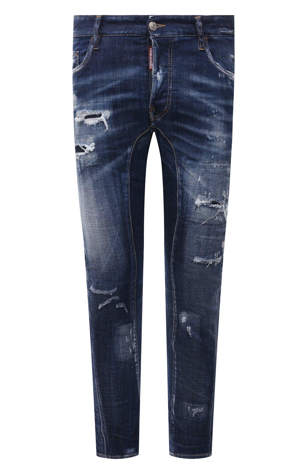 Мужские джинсы DSQUARED2 темно-синего цвета, арт. S74LB0960/S30342 | Фото 1 (Силуэт М (брюки): Прямые; Длина (брюки, джинсы): Стандартные; Материал внешний: Хлопок)