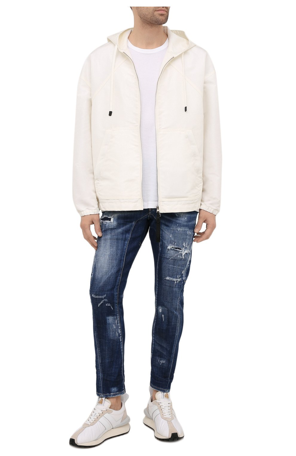 Мужские джинсы DSQUARED2 темно-синего цвета, арт. S74LB0960/S30342 | Фото 2 (Силуэт М (брюки): Прямые; Длина (брюки, джинсы): Стандартные; Материал внешний: Хлопок)