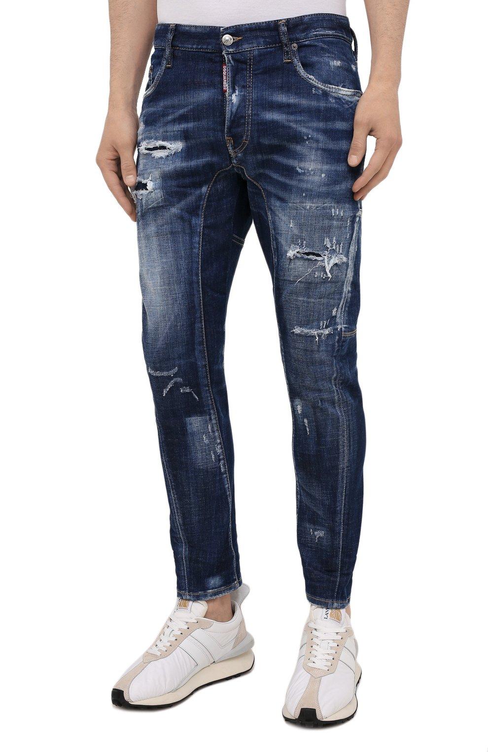 Мужские джинсы DSQUARED2 темно-синего цвета, арт. S74LB0960/S30342 | Фото 3 (Силуэт М (брюки): Прямые; Длина (брюки, джинсы): Стандартные; Материал внешний: Хлопок)