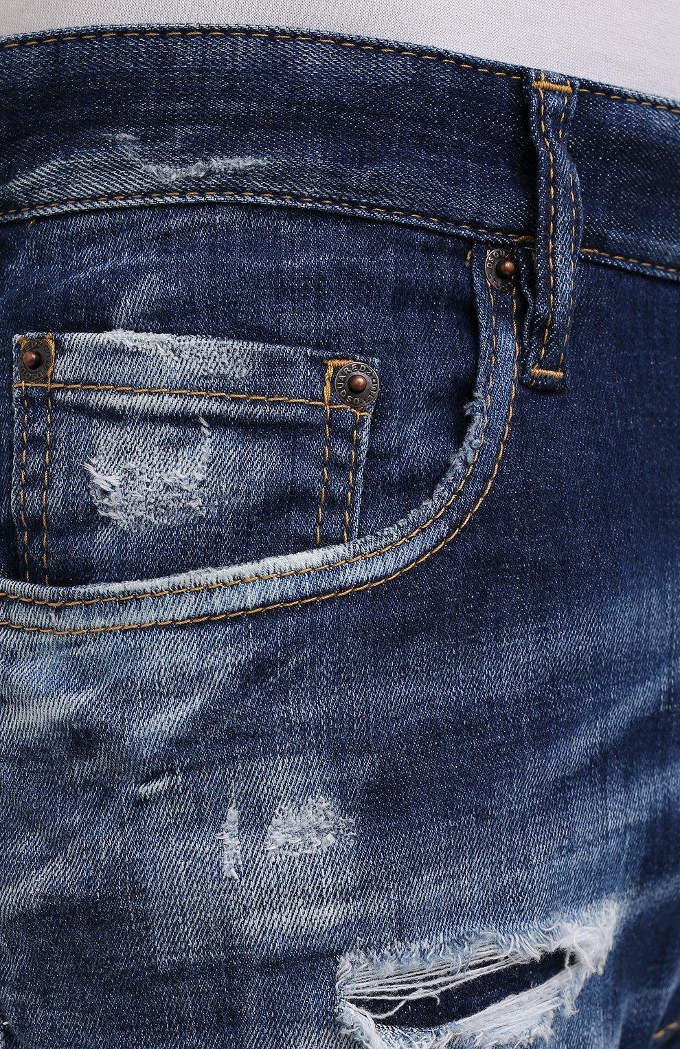 Мужские джинсы DSQUARED2 темно-синего цвета, арт. S74LB0960/S30342 | Фото 5 (Силуэт М (брюки): Прямые; Длина (брюки, джинсы): Стандартные; Материал внешний: Хлопок)