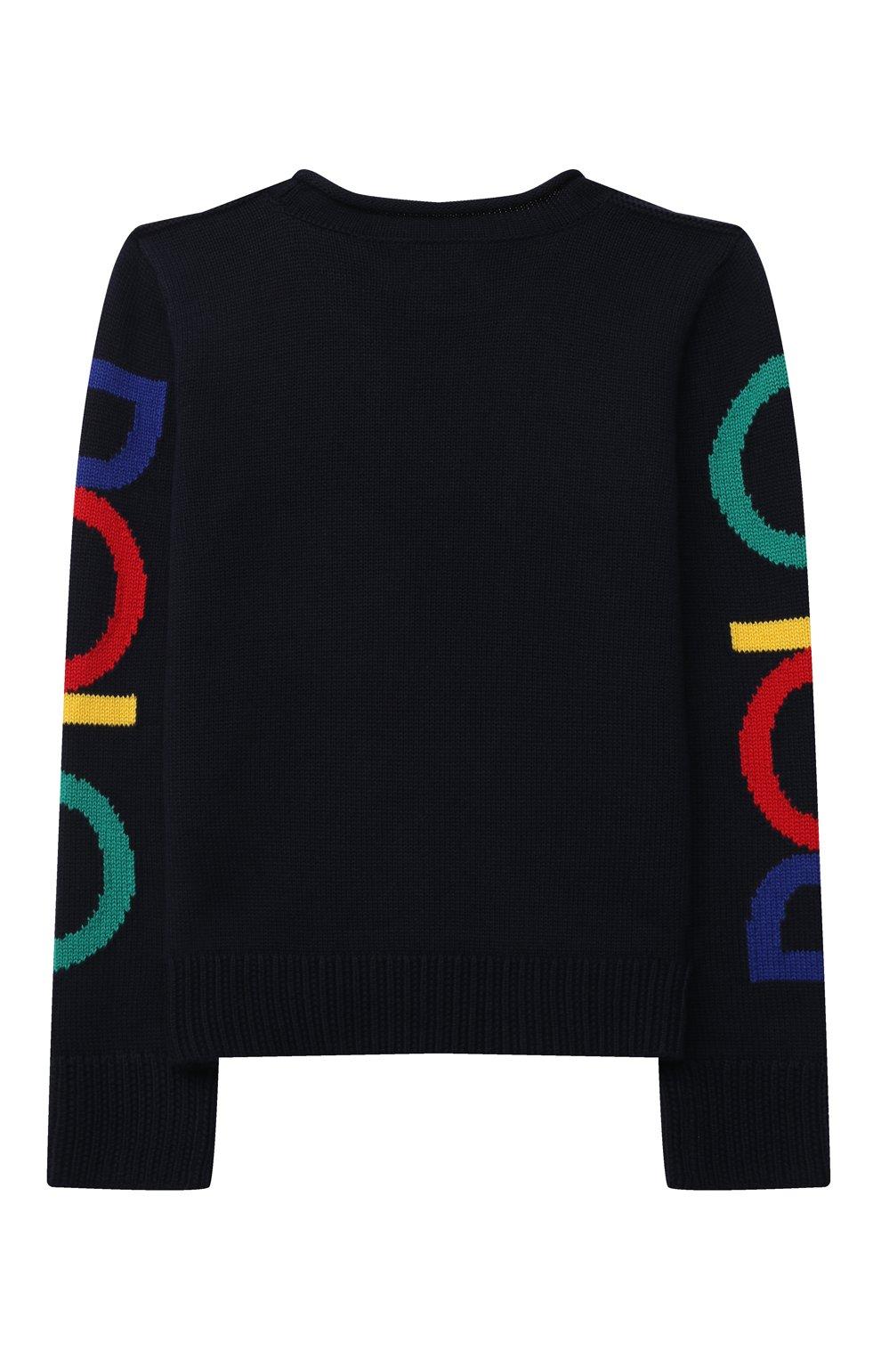 Детский хлопковый пуловер POLO RALPH LAUREN темно-синего цвета, арт. 313846655   Фото 2