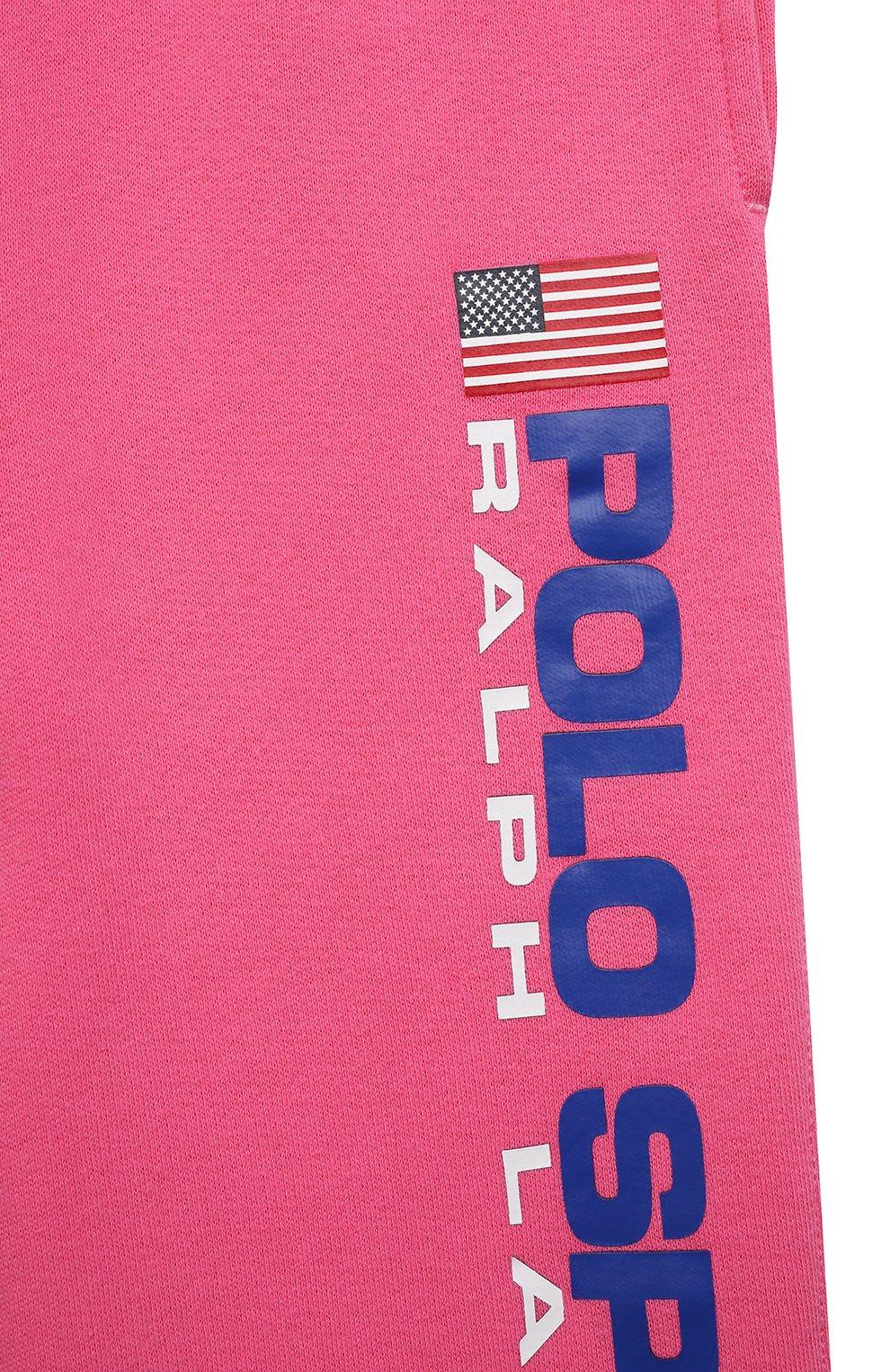 Детские хлопковые джоггеры POLO RALPH LAUREN фуксия цвета, арт. 313837721 | Фото 3