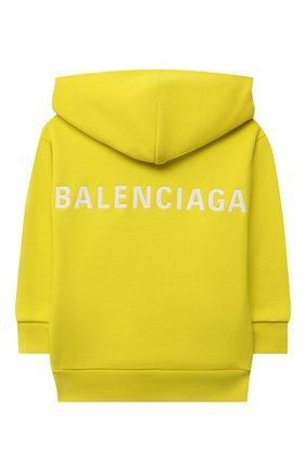 Детский хлопковое худи BALENCIAGA желтого цвета, арт. 558143/TKVC2 | Фото 2