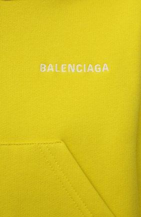 Детский хлопковое худи BALENCIAGA желтого цвета, арт. 558143/TKVC2 | Фото 3
