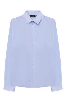 Детская хлопковая рубашка DAL LAGO голубого цвета, арт. N402/8610/13-16 | Фото 1 (Материал внешний: Хлопок; Рукава: Длинные; Принт: Без принта; Стили: Классический; Случай: Повседневный; Ростовка одежда: 16 лет | 164 см, 13 - 15 лет | 158 см)