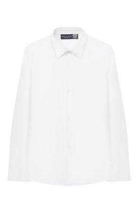 Детская хлопковая рубашка DAL LAGO белого цвета, арт. N402/9017/4-6 | Фото 1 (Рукава: Длинные; Материал внешний: Хлопок; Принт: Без принта; Стили: Классический; Случай: Повседневный; Ростовка одежда: 4 года | 104 см, 5 лет | 110 см, 6 лет | 116 см)