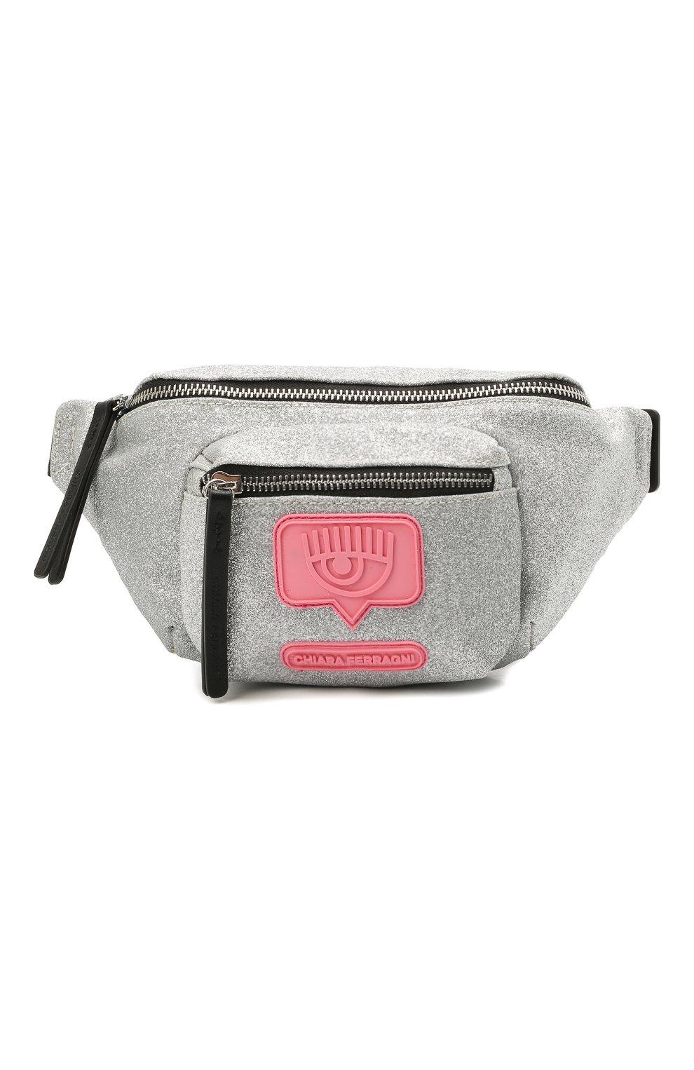 Детская поясная сумка CHIARA FERRAGNI серебряного цвета, арт. 21PE-CFBB015   Фото 1