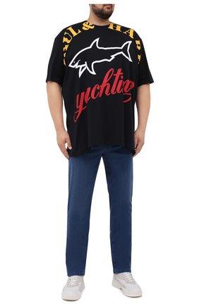 Мужская хлопковая футболка PAUL&SHARK черного цвета, арт. 21411069/C00/3XL-6XL | Фото 2