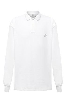 Мужское хлопковое поло BRUNELLO CUCINELLI белого цвета, арт. M0T739769W | Фото 1