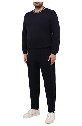 Мужской джемпер из кашемира и шелка BRUNELLO CUCINELLI темно-синего цвета, арт. M2389900W | Фото 2