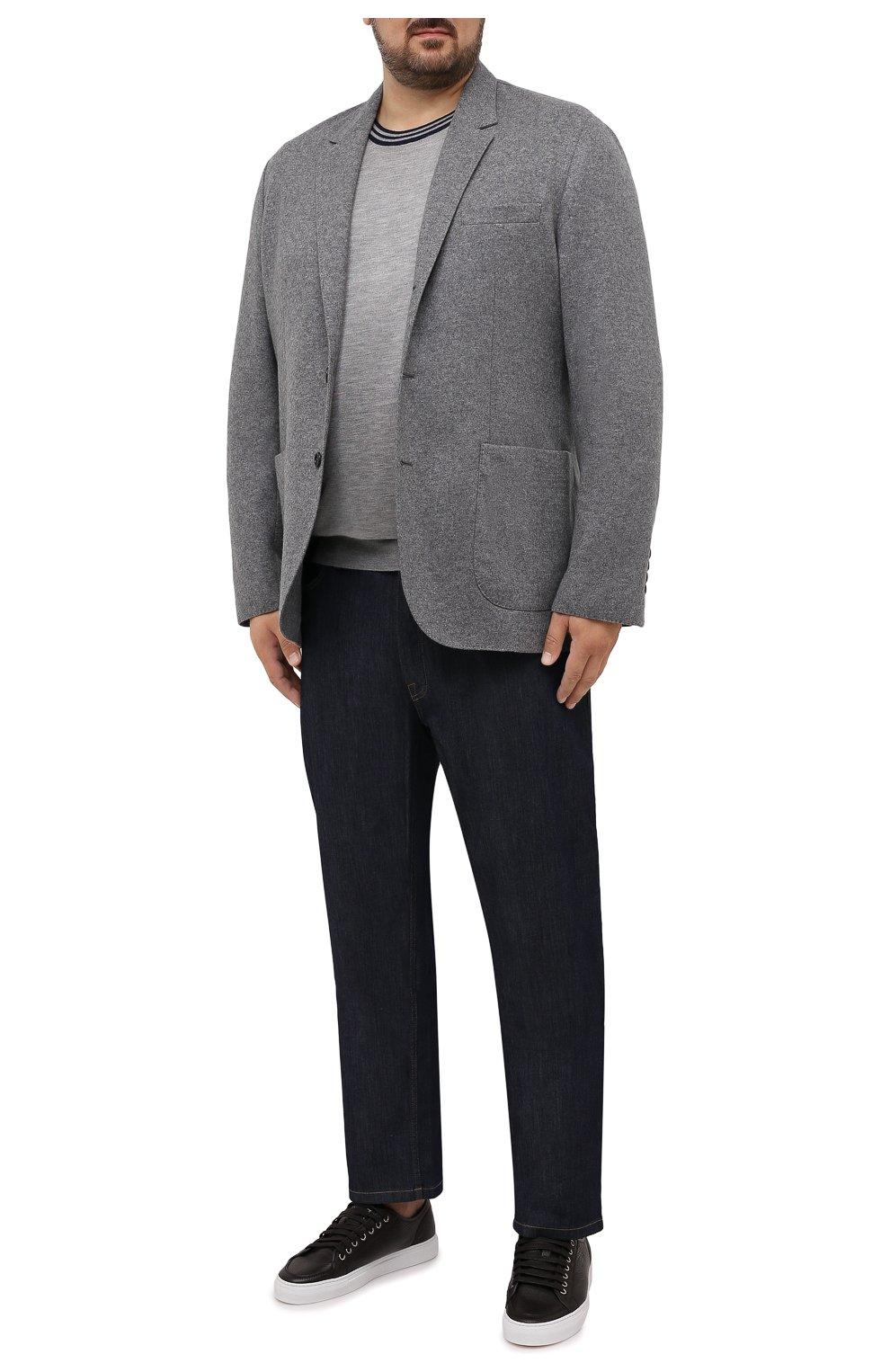 Мужской джемпер из кашемира и шелка BRUNELLO CUCINELLI темно-серого цвета, арт. M2389900W   Фото 2