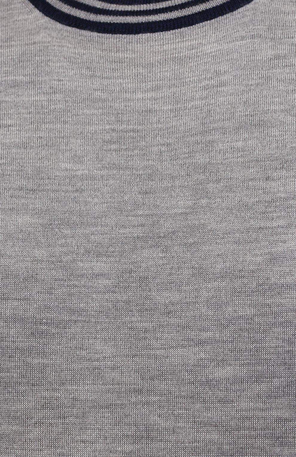 Мужской джемпер из кашемира и шелка BRUNELLO CUCINELLI темно-серого цвета, арт. M2389900W   Фото 5