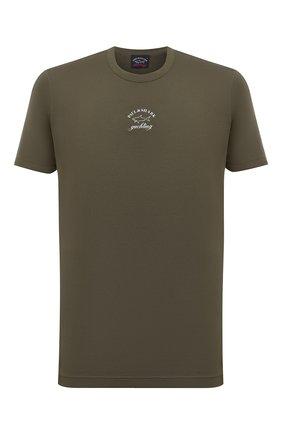 Мужская хлопковая футболка PAUL&SHARK хаки цвета, арт. 11311607/C00 | Фото 1