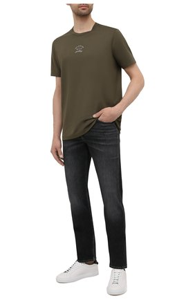 Мужская хлопковая футболка PAUL&SHARK хаки цвета, арт. 11311607/C00 | Фото 2