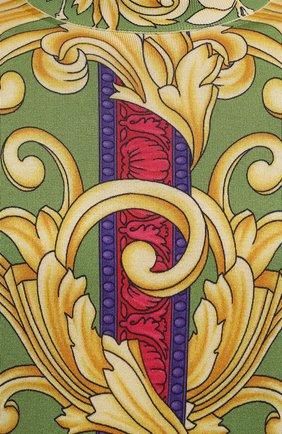 Мужской шелковый джемпер VERSACE разноцветного цвета, арт. A89381/1A00794   Фото 5 (Мужское Кросс-КТ: Джемперы; Материал внешний: Шелк; Рукава: Длинные; Длина (для топов): Стандартные; Вырез: Круглый; Стили: Бохо)