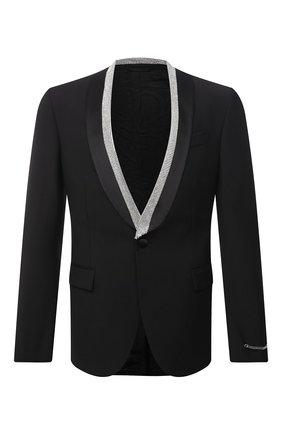 Мужской шерстяной пиджак VERSACE черного цвета, арт. 1001255/1A00892 | Фото 1