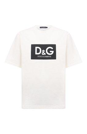 Мужская хлопковая футболка DOLCE & GABBANA белого цвета, арт. G8NG4T/HU7IL | Фото 1