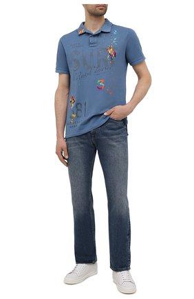 Мужское хлопковое поло POLO RALPH LAUREN синего цвета, арт. 710842406 | Фото 2