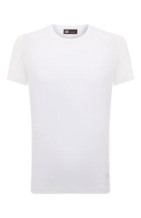 Мужская шерстяная футболка Z ZEGNA белого цвета, арт. VY391/ZZT678 | Фото 1 (Материал внешний: Шерсть; Рукава: Короткие; Длина (для топов): Стандартные; Принт: Без принта; Стили: Кэжуэл)