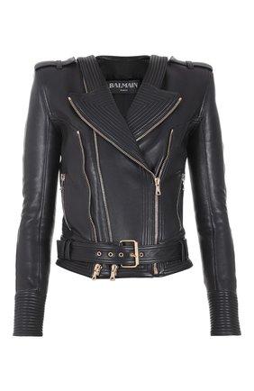 Женская кожаная куртка BALMAIN черного цвета, арт. WF1TD000/L158 | Фото 1