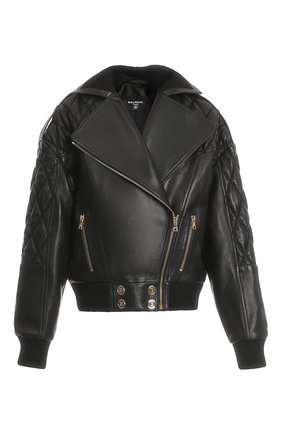 Женская кожаная куртка BALMAIN черного цвета, арт. WF1TD020/L158 | Фото 1