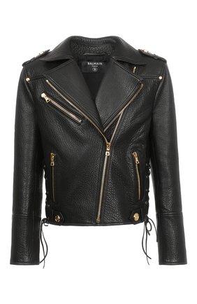 Женская кожаная куртка BALMAIN черного цвета, арт. WF1TD035/L166 | Фото 1