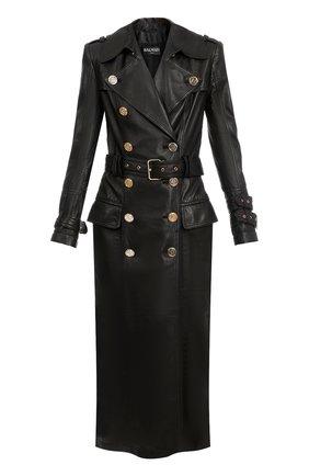 Женское кожаное пальто BALMAIN черного цвета, арт. WF1TL010/L158 | Фото 1