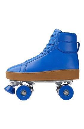 Мужские кожаные роликовые коньки BOTTEGA VENETA синего цвета, арт. 667061/V00T0   Фото 1