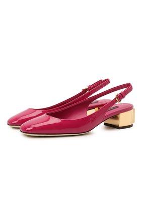 Женские кожаные туфли alexa DOLCE & GABBANA фуксия цвета, арт. CG0498/AQ130 | Фото 1 (Подошва: Плоская; Каблук высота: Низкий; Материал внутренний: Натуральная кожа; Каблук тип: Устойчивый)
