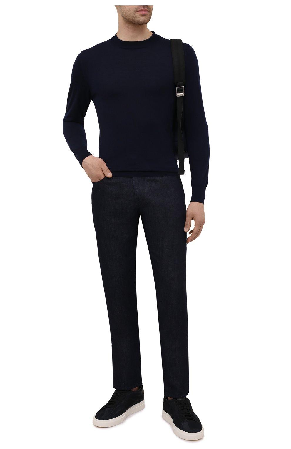 Мужские кожаные кеды SANTONI черного цвета, арт. MBGT21553PNNRBUIN01 | Фото 2 (Материал внутренний: Натуральная кожа; Подошва: Массивная)