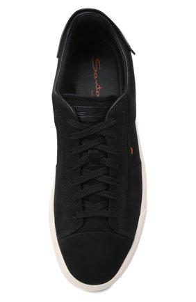 Мужские кожаные кеды SANTONI черного цвета, арт. MBGT21553PNNRBUIN01 | Фото 5 (Материал внутренний: Натуральная кожа; Подошва: Массивная)