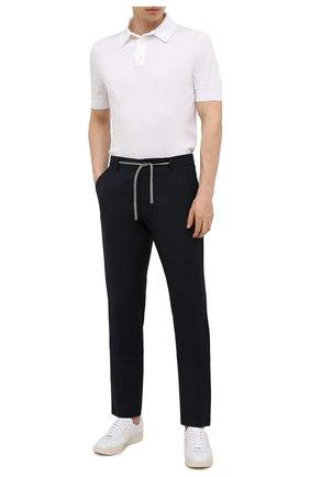 Мужские шерстяные брюки CANALI темно-синего цвета, арт. V1659/AR03474 | Фото 2 (Материал внешний: Шерсть; Длина (брюки, джинсы): Стандартные; Случай: Повседневный; Стили: Кэжуэл)