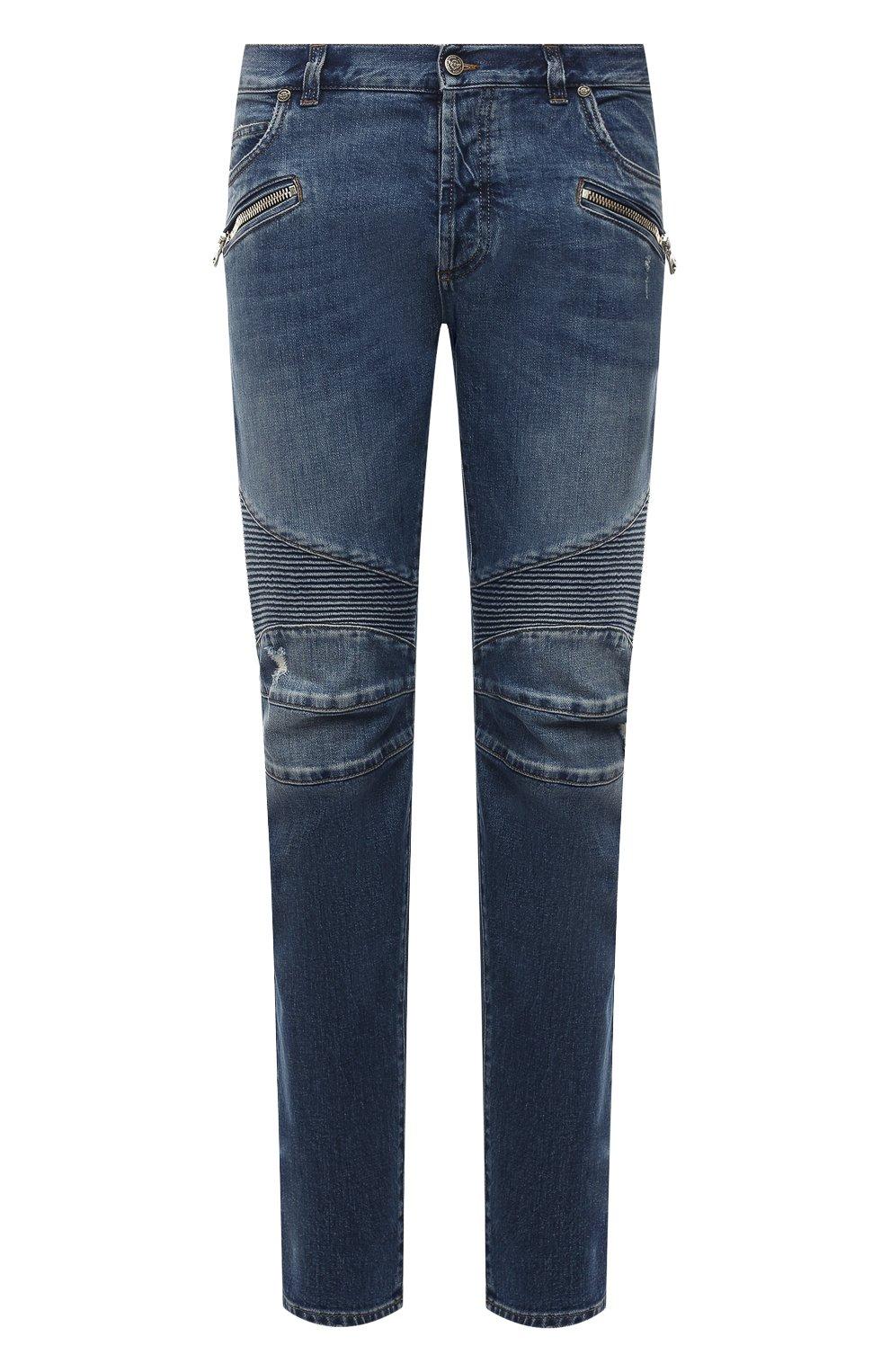Мужские джинсы BALMAIN синего цвета, арт. WH1MH005/031D   Фото 1 (Силуэт М (брюки): Прямые; Кросс-КТ: Деним; Длина (брюки, джинсы): Стандартные; Стили: Гранж; Материал внешний: Хлопок; Детали: Потертости)