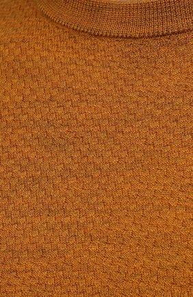 Мужской шерстяной джемпер CANALI светло-коричневого цвета, арт. C0821/MK01260 | Фото 5 (Мужское Кросс-КТ: Джемперы; Материал внешний: Шерсть; Рукава: Длинные; Принт: Без принта; Длина (для топов): Стандартные; Вырез: Круглый; Стили: Кэжуэл)