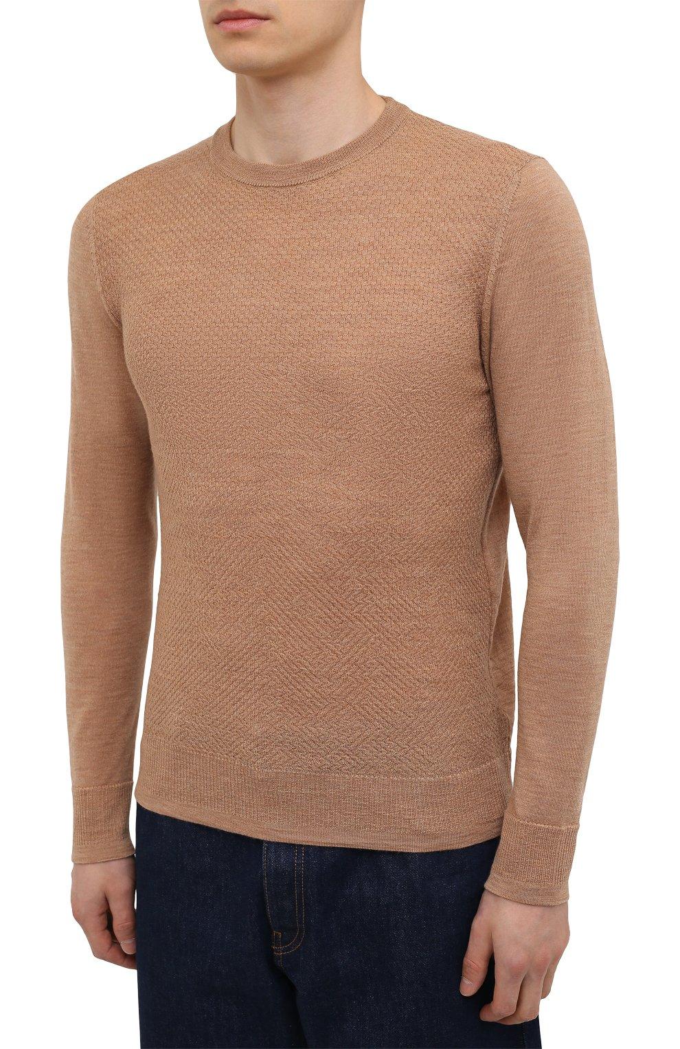Мужской шерстяной джемпер CANALI бежевого цвета, арт. C0821/MK01260 | Фото 3