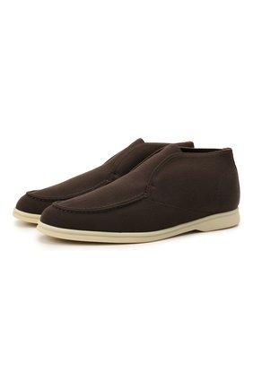 Мужские текстильные ботинки open walk LORO PIANA темно-коричневого цвета, арт. FAL6181   Фото 1 (Материал внешний: Текстиль; Материал внутренний: Натуральная кожа, Текстиль; Мужское Кросс-КТ: Ботинки-обувь; Подошва: Плоская)