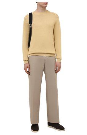 Мужские текстильные ботинки open walk LORO PIANA темно-коричневого цвета, арт. FAL6181   Фото 2 (Материал внешний: Текстиль; Материал внутренний: Натуральная кожа, Текстиль; Мужское Кросс-КТ: Ботинки-обувь; Подошва: Плоская)