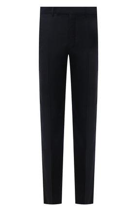 Мужские шерстяные брюки ERMENEGILDO ZEGNA черного цвета, арт. 219F00/75TB12   Фото 1 (Материал подклада: Вискоза; Материал внешний: Шерсть; Длина (брюки, джинсы): Стандартные; Случай: Формальный; Стили: Классический)