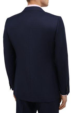Мужской шерстяной костюм ERMENEGILDO ZEGNA темно-синего цвета, арт. 222034/221225 | Фото 3 (Материал внешний: Шерсть; Рукава: Длинные; Костюмы М: Однобортный; Стили: Классический; Материал подклада: Купро)