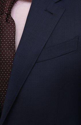 Мужской шерстяной костюм ERMENEGILDO ZEGNA темно-синего цвета, арт. 222034/221225 | Фото 6 (Материал внешний: Шерсть; Рукава: Длинные; Костюмы М: Однобортный; Стили: Классический; Материал подклада: Купро)