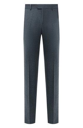 Мужские шерстяные брюки Z ZEGNA синего цвета, арт. 224703/6700GX | Фото 1 (Длина (брюки, джинсы): Стандартные; Материал внешний: Шерсть; Случай: Повседневный; Стили: Кэжуэл)